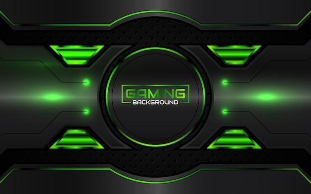 Fondo nero e verde futuristico astratto di gioco