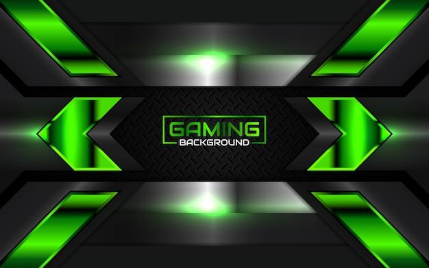Sfondo di gioco astratto futuristico nero e verde