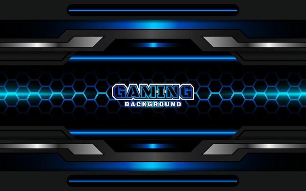 Sfondo di gioco astratto futuristico nero e azzurro Vettore Premium