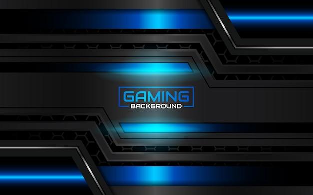 Sfondo di gioco astratto futuristico nero e azzurro