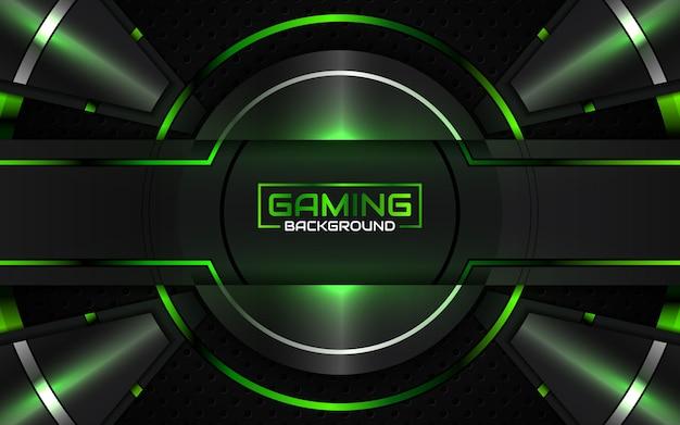 Sfondo di gioco astratto futuristico nero e verde chiaro