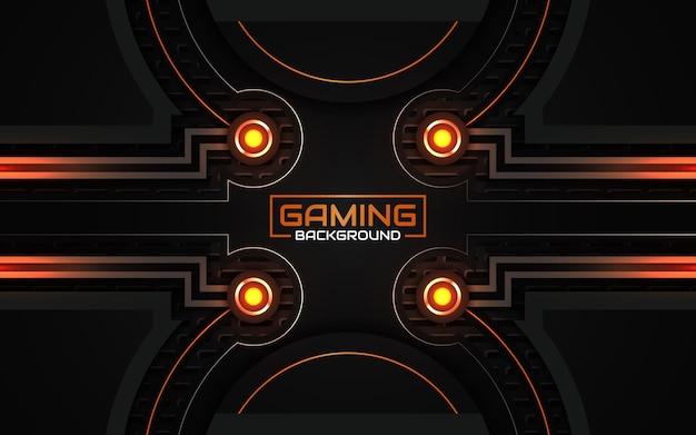 Sfondo di gioco astratto futuristico nero e arancione chiaro