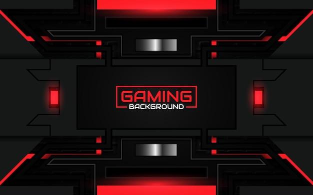 Sfondo di gioco futuristico astratto nero e rosso chiaro