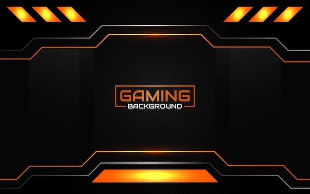 Fondo nero ed arancio futuristico astratto di gioco