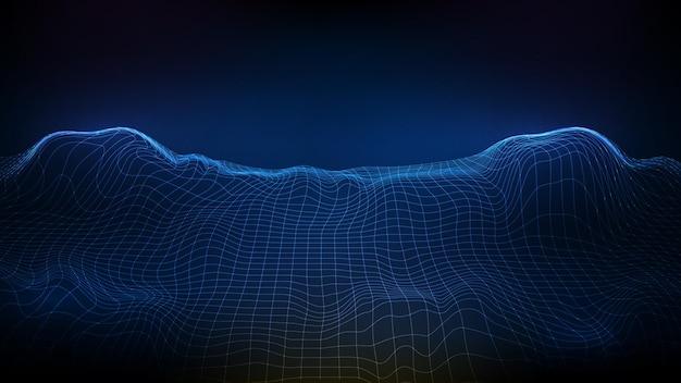 Paesaggio futuristico astratto del wireframe del fondo blu, montagne poligonali, stile di tecnologia del sistema della mappa di flusso di dati