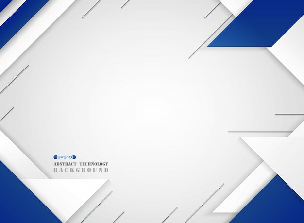 Estratto del modello moderno geometrico blu e bianco futuristico sul fondo di bianco di pendenza.