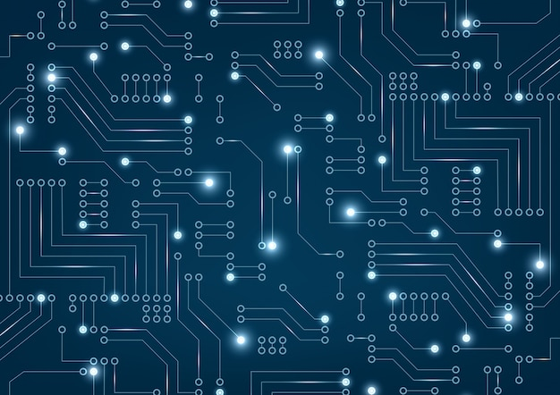 Circuito futuristico astratto su blu scuro