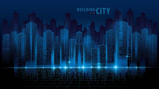 Vettore futuristico astratto della città, fondo di paesaggio urbano di digital. paesaggio urbano trasparente