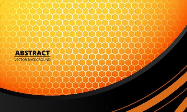 Fondo geometrico di concetto futuristico astratto con fibra di carbonio esagonale gialla