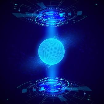 Elemento hud oggetto futuristico astratto. la visualizzazione dell'ologramma 3d consiste in una sfera della rete globale. scienze e tecnologia. illustrazione vettoriale