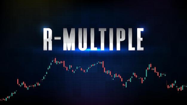 Testo futuristico astratto del rischio iniziale r-multiplo e grafico del grafico a barre del bastoncino di candela
