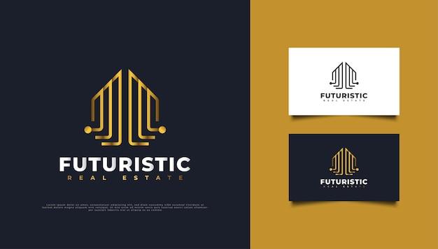 Design del logo immobiliare astratto e futuristico in stile linea oro. modello di progettazione del logo di costruzione, architettura o edificio