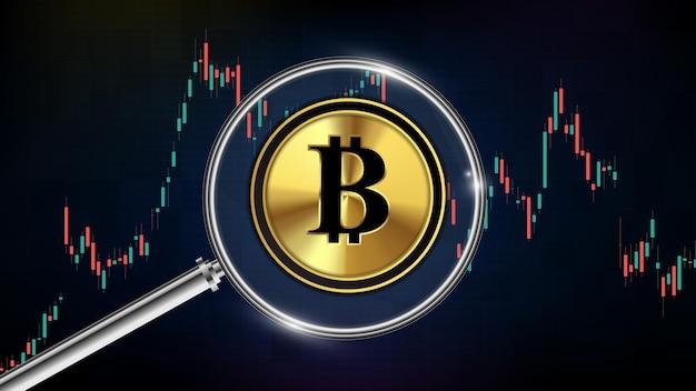 Fondo futuristico astratto di tecnologia del bitcoin di criptovaluta con il bastone della candela del grafico della lente d'ingrandimento e del grafico