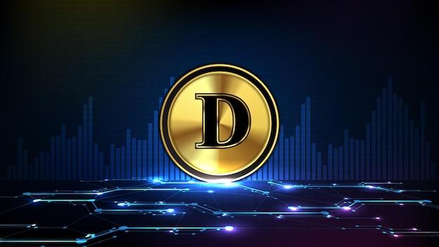 Fondo futuristico astratto di tecnologia della criptovaluta digitale della moneta doge e dell'indicatore del volume del grafico del mercato