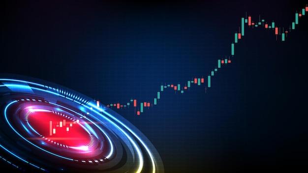 Fondo futuristico astratto di tecnologia dell'interfaccia utente del display hud e grafico del grafico del bastone della candela del mercato azionario