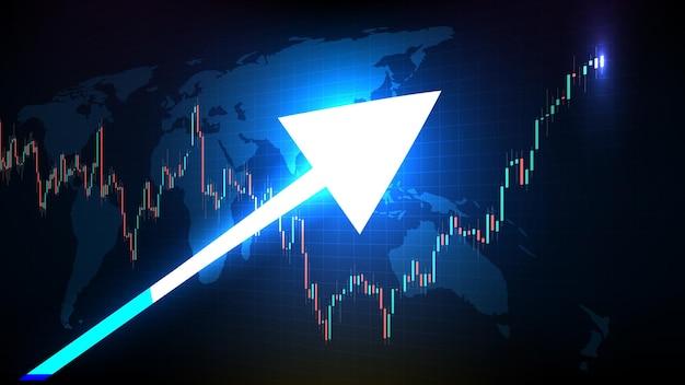 Fondo futuristico astratto di tecnologia del grafico verde e rosso del grafico a barre del bastone della candela e del mercato azionario