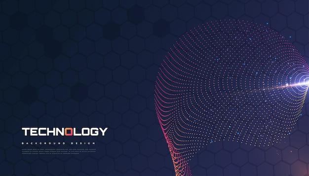 Fondo futuristico astratto di tecnologia con il concetto dell'onda punteggiata. adatto per copertina, presentazione, banner o pagina di destinazione