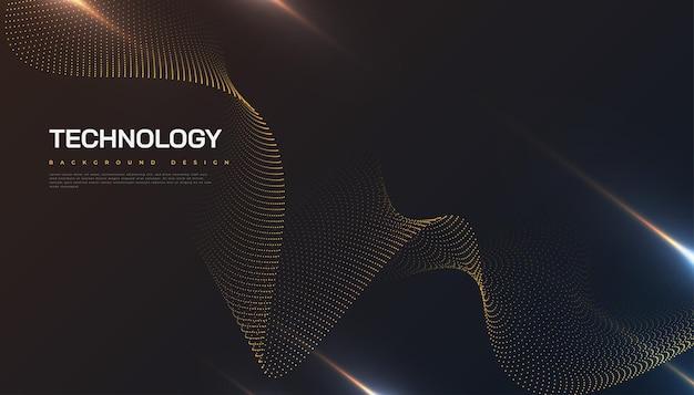 Fondo futuristico astratto di tecnologia con effetto punteggiato dell'onda e dei raggi. adatto per copertina, presentazione, banner o pagina di destinazione
