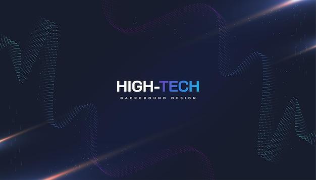 Astratto tecnologia futuristica con effetto onda punteggiata e raggi. adatto per copertina, presentazione, banner o pagina di destinazione