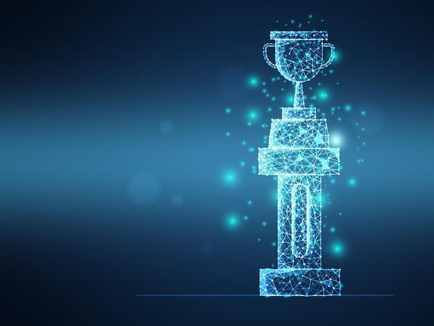 Trofeo futuristico astratto della maglia del wireframe sul fondo di tecnologia digitale dell'illustrazione di vettore del pilastro