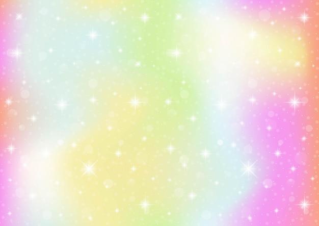 Unicorno fantasia galassia astratta. cielo pastello con bokeh. sfondo arcobaleno.