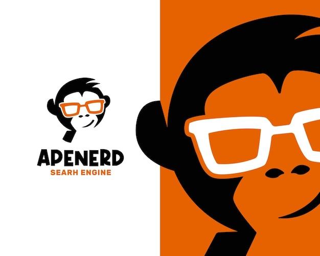 Modello di logo astratto geek nerd scimmia faccia
