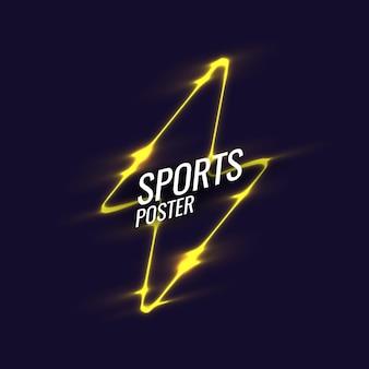 Manifesto sportivo al neon di sfondo geometrico astratto con le figure geometriche