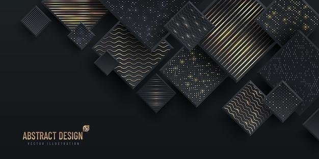 Sfondo geometrico astratto con glitter dorato, colore grigio scuro. concetto moderno e minimale.