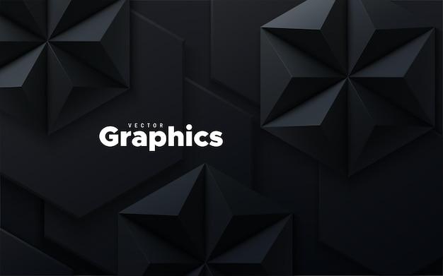 Fondo geometrico astratto con forme nere esagonali