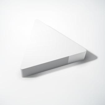 Concetto in bianco geometrico astratto con triangolo realistico grigio 3d su indicatore luminoso isolato