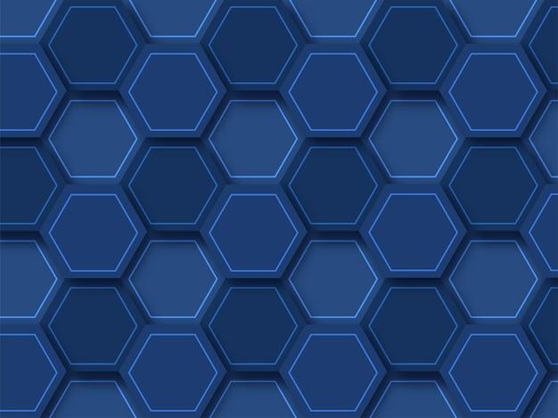 Sfondo blu geometrico astratto con motivo esagonale.