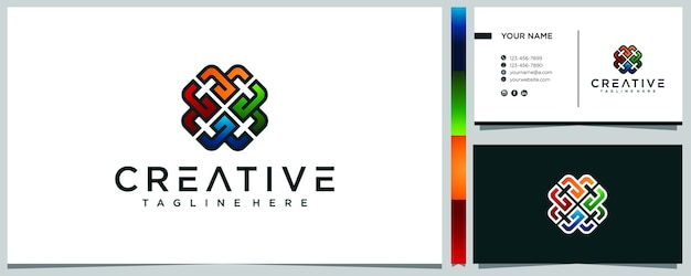 Disegno astratto geometrico colorato logo e biglietto da visita