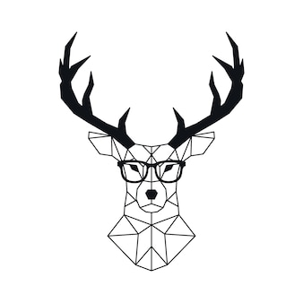 Testa di cervo geometrica astratta in stile poligonale