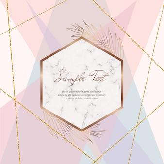Disegno geometrico astratto con linee glitter rosa pastello, blu, viola e oro e cornice in marmo Vettore Premium