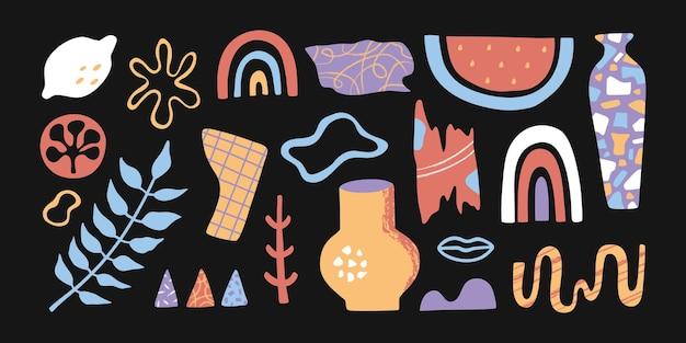 Insieme di elementi di forme geometriche astratte di doodle con texture pennello su sfondo nero, collezione di icone alla moda contemporanea disegnate a mano creativa, stile cartone animato piatto, piante e frutti esotici, isolati