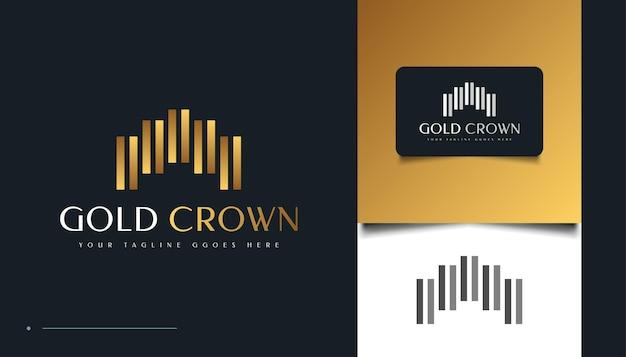 Disegno di marchio astratto geometrico corona d'oro. icona o simbolo della corona del re reale