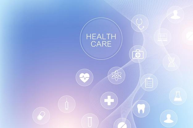 Fondo geometrico astratto di concetto di scienza e medicina. modello di icone mediche e sanitarie con molecola, dna, flusso d'onda. tecnologia di innovazione medica. bandiera della farmacia. illustrazione vettoriale