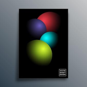 Manifesto geometrico astratto con le palle 3d.