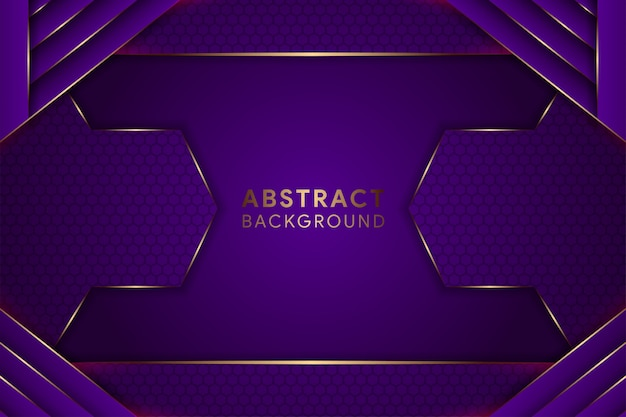 Fondo viola geometrico astratto. il layout orizzontale utilizza un motivo esagonale. elemento curva d'oro.