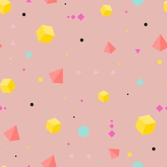 Modello senza cuciture geometrico astratto. forme isometriche. elegante sfondo rosa alla moda. fashion design. illustrazione vettoriale.