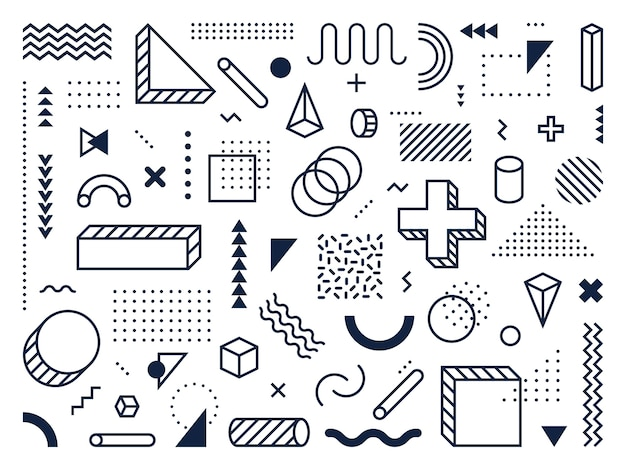 Forme geometriche astratte. contorno cerchio, triangolo e cubo. simboli, linee e punti alla moda in stile memphis. segni astratti di geometria matematica hipster ornamento. set di icone vettoriali isolato