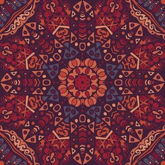 Piastrelle geometriche astratte ornamentali senza cuciture etnico bohémien. stampa grafica floreale