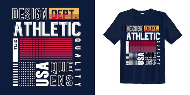 T-shirt elegante tipografia geometrica astratta. queens, usa