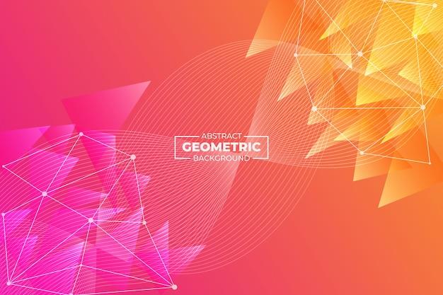 Astratto geometrico e linea ondulata sfondo rosa arancione