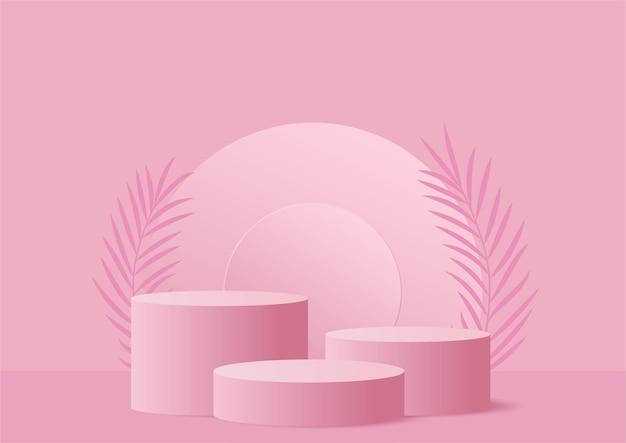 Presentazione dello stand del prodotto pastello rosa podio forma geometrica astratta con uno stile minimal