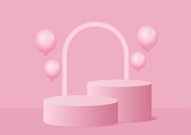 Podio di forma geometrica astratta con palloncini rosa pastello presentazione stand prodotto stile minimal