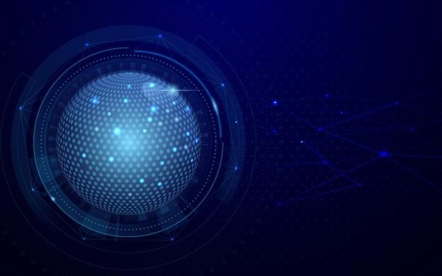 Fondo blu scuro di concetto futuristico astratto della rete e della connessione globale di tecnologia.