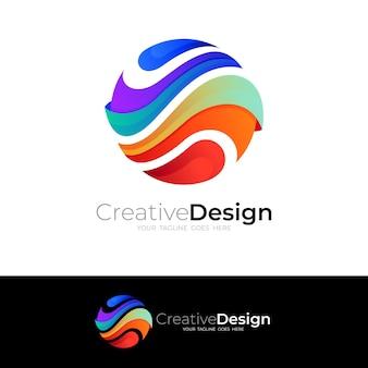 Icone astratte del globo, logo della terra con stile 3d