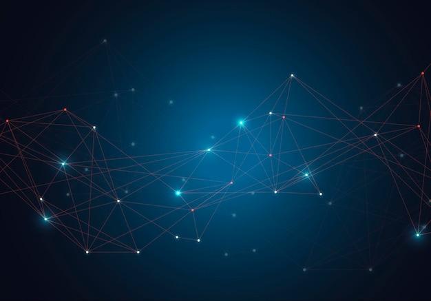 Molecole luminose incandescente astratte con punti e linee su sfondo blu.