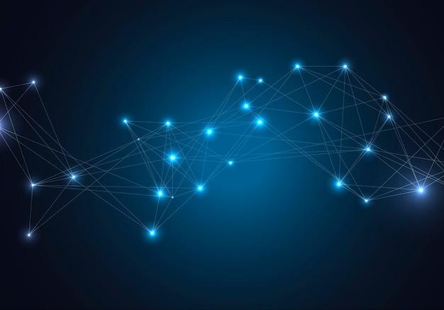 Molecole luminose d'ardore astratte con punti e linee su sfondo blu.